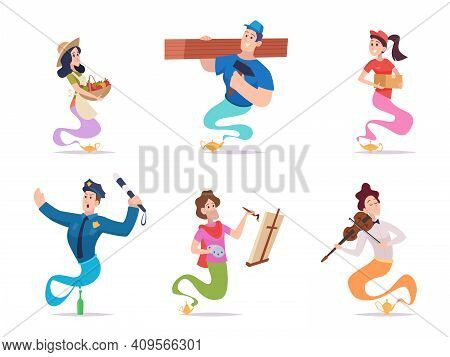 Fairy Tale Genie. Fantasy Characters Male Female Living In Fairy Tale Lamp Or Bottle Creatures Vario