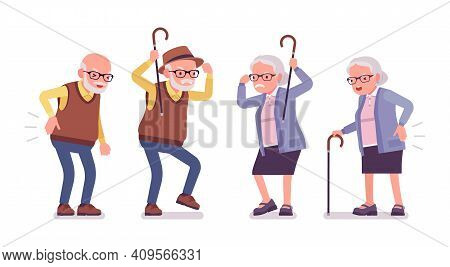 Old Angry People, Elderly Man, Woman Having Back Pain. Senior Citizens, Retired Grandparents, Old-ag