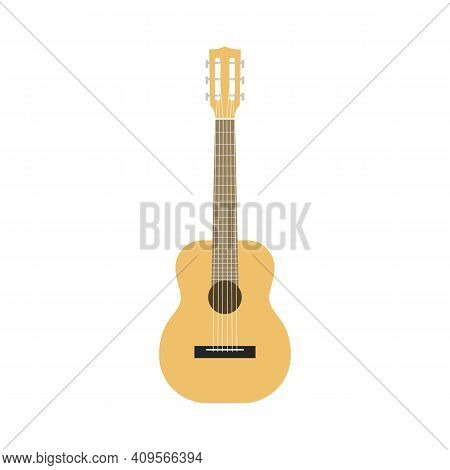 Flat Guitar. Acoustic Classic Musical Instrument Front View, Wooden Beige Silhouette Classical Shape