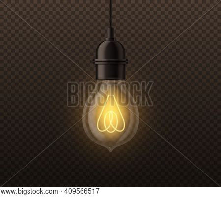 Realistic Light Bulb. Vintage Edison Glowing Lamp, Incandescent Illumination, Electrical Equipment,