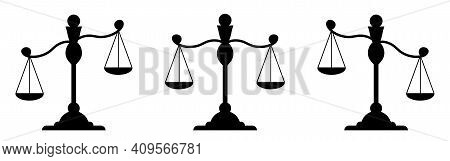 Set Libra. Silhouette Of Scales. Weights Black Icon. Isolated Element On A White Background. Balance