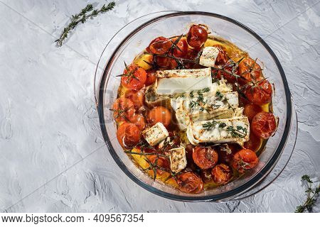 Oven Baked Homemade Feta Pasta, Baked Cherry Tomatoes And Feta Cheese With Olive Oil, Garlic And Thy