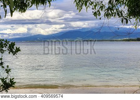 View Of The Island Of Lombok, Indonesia, On The Island Of Gili Air. Indian Ocean.
