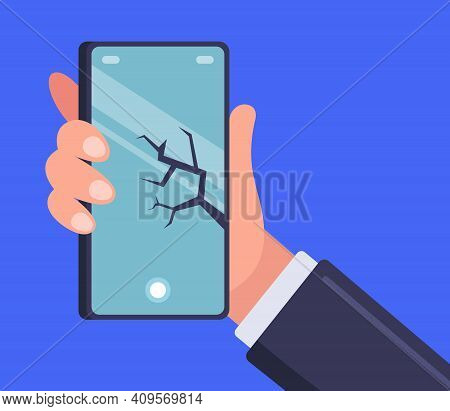 Crack On The Smartphone. Smash Your Phone. Flat Vector Illustration.