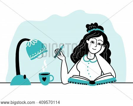Girl And Diary. Woman Write Journal, Young Student Studying And Make Note. Author Writing Book, Fema