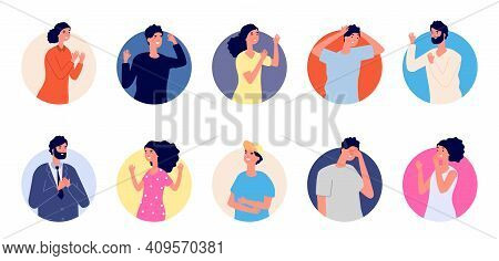 People Emotional Avatars. Different Gestures, Happy Sad Confused Characters. Woman Man In Round, Cut