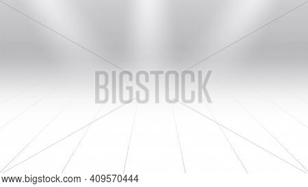 White Perspective Background. Wood Floor And Lights, Realistic Elements Empty Backdrop Or Stage Vect