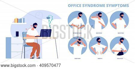 Office Syndrome. Work Pain Infographic, Symptoms Of Incorrect Working Position At Computer. Back Nec
