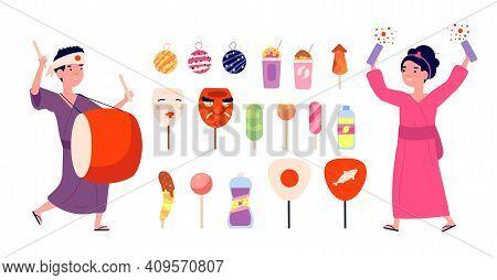 Japanese Festival Elements. Japan Symbols, Kids Wear Kimono. Summer Boy Girl In Yukata, Travel And H