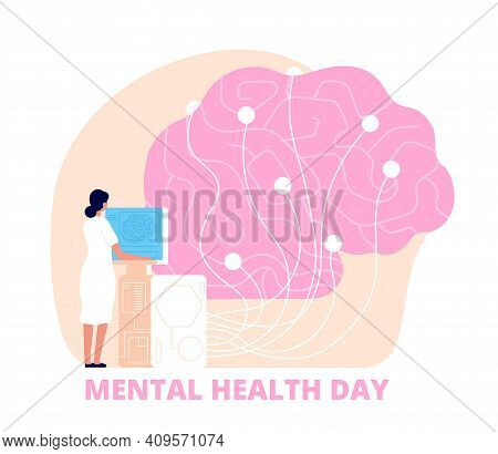 Mental Health Day. Healthcare, Medical Psychology Poster. Doctor Study Human Brain, Mind Care And Re