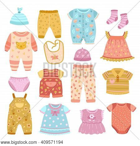 Baby Apparel. Flat Girl Shirt, Socks And Clothes Set For Children. Boys Cloth, Fashion Fabric Dress,