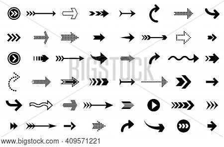 Black Arrows Icons. Modern Arrow Up, Direction Sign Symbols. Infographic Up Down Element, Pointer Or