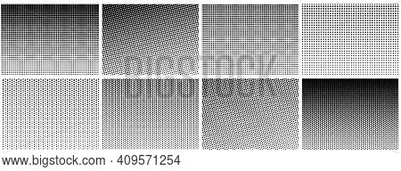 Halftone Gradient Effect. Dot Texture, Dotted Geometric Pattern Background. Fade Circle Lines, Black