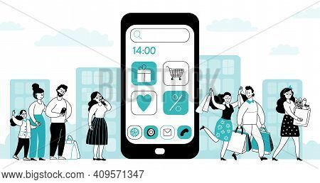 Mobile Shopping App. Flat Style People Shop, Online Buyers And Smart Paying. Things For Ecommerce Se