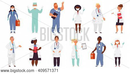 Doctor Nurse Characters. Medical Nurses, Health Care Flat Male. Female Doctors Helping, Hospital Car