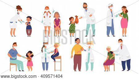 People Vaccination. Flat Sick Child, Vaccinations From Flu Virus. Cartoon Doctor, Hospital Worker An