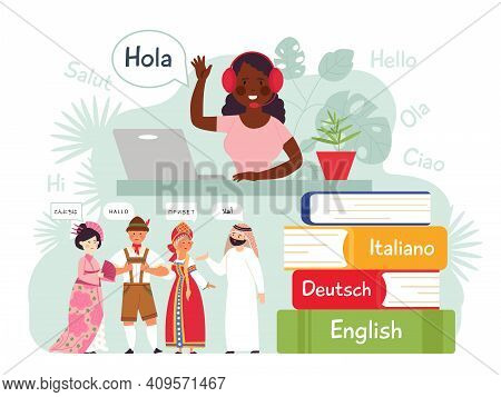 Foreign Language Learning. Mobile Learn, Contacts On English German. Friends Conversation, Study Dic