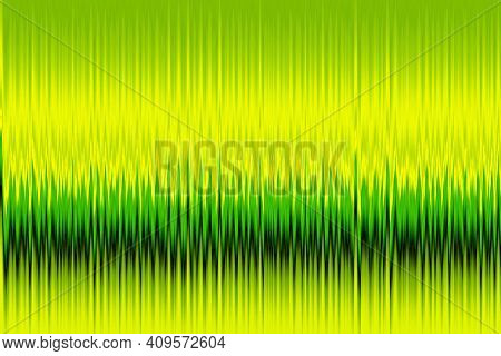 Abstract Green And Yellow Neon Background With Vertical Lines. Simple Parallel Vertical Lines Patter