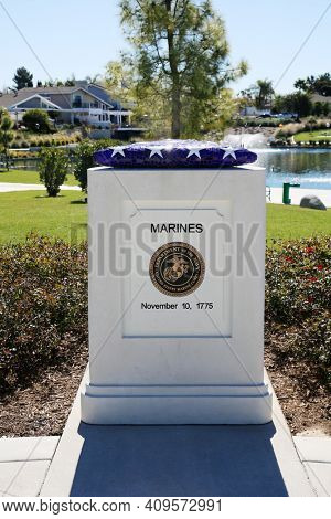 Lake Forest, California. USA - February 22, 2021: City of Lake Forest, Veterans Park. Marines Placard for Veterans Park. A nice park with a Pond and a walking path. Editorial Use Only.