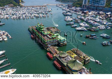 Aberdeen, Hong Kong 24 August 2020: Drone fly over Hong Kong typhoon shelter in aberdeen