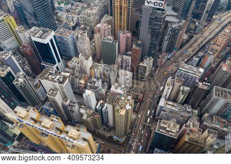 Causeway Bay, Hong Kong 07 January 2021: Aerial view of Hong Kong city