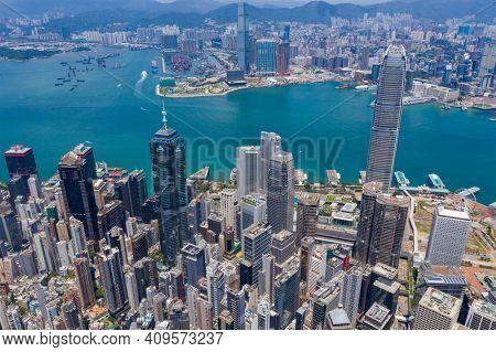 Central, Hong Kong 25 August 2020: Top view of Hong Kong city