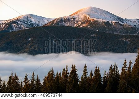 Landscape Of Hoverla Mountain, The Highest Peak In Ukrainian Carpathian Mountains Surrounded With Wh