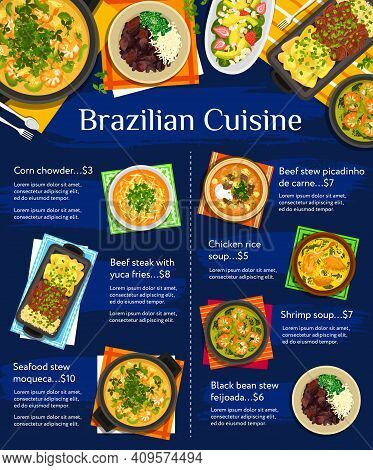 Brazilian Cuisine Vector Menu Template Avocado Strawberry Salad, Corn Chowder And Black Bean Stew Fe
