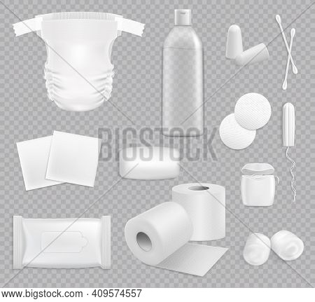 Family Hygiene Vector Stuff Toilet Paper, Baby Diaper, Wipes Package And Cotton Pads. Soap, Ear Stic
