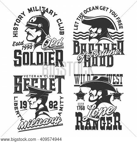 T-shirt Prints With Soldier, Pirate And Wild West Ranger Warriors Vector Mascots For Military Vetera