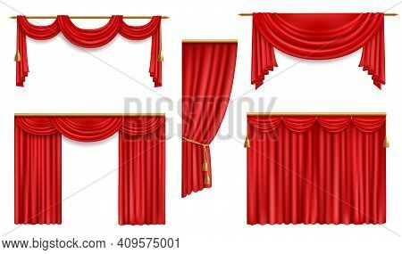 Realistic Curtains, 3d Vector Red Folded Cloth With Gold Tassels And Pelmet For Window Or Theater St