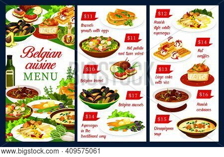 Belgian Cuisine Restaurant Menu Vector Template Of Meat And Seafood Dishes With Waffle Dessert. Pota