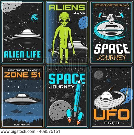 Alien Zone, Ufo Space Journey Retro Posters. Extraterrestrial Civilization Life Spacecrafts, Alien G