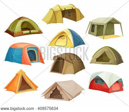 Tents Camp Icons, House Campsite Dome, Travel Tourism, Vector Isometric 3d Flat Isolated. Tourist Ou