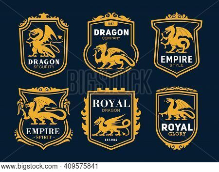 Royal Heraldic Icons With Dragons, Fairytale Monsters. Coat Of Arms With Golden Dragons Silhouettes,