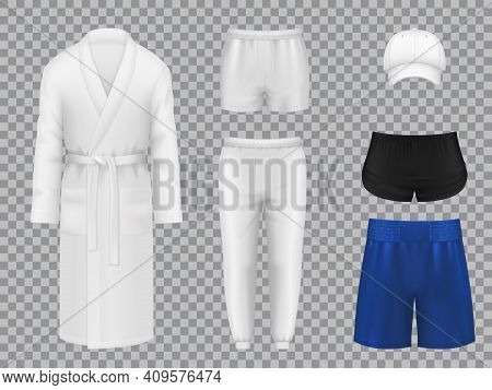 Male Clothes, Realistic Vector Linen, Sportswear And Headwear. 3d Underpants, Bath Robe, And Pants,