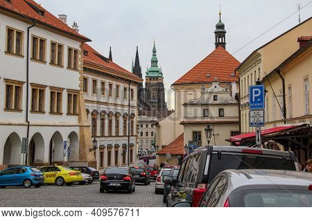 Prague, Czech - April 24, 2012: This Is Loretanska Street, Which Is Located In The Historical Center