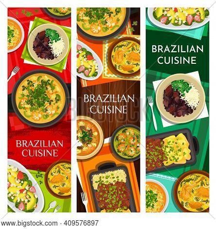 Brazilian Cuisine Vector Meals Corn Chowder, Black Bean Stew Feijoada, Beef Stew Picadinho De Carne.