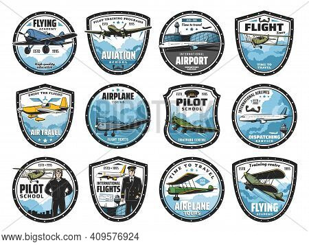 Flying Academy, Airplane Tour And Airline Flight Icons Set. Airport Dispatching Service, Pilot Train