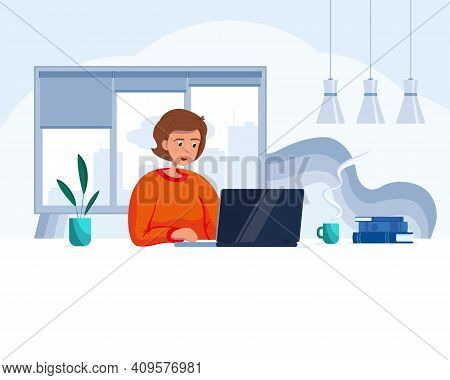 The Girl Behind The Laptop Works Remotely From Home During Covid-19 Restrictions. Vector Concept Ill