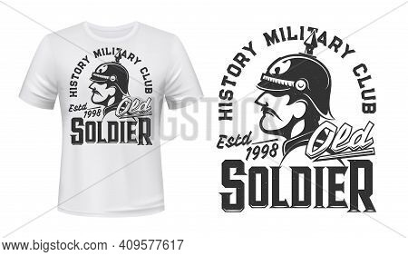 German Soldier T-shirt Print, Vector Mascot For History Military Club. Germany Infantryman Of World