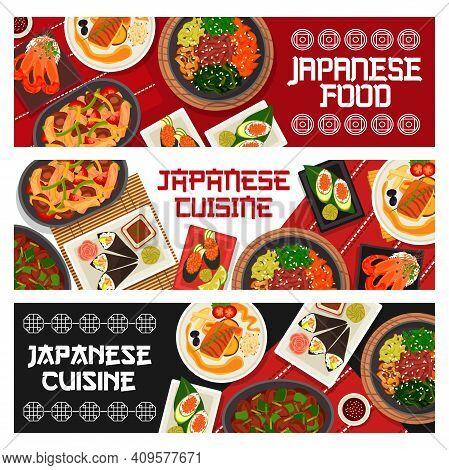 Japanese Cuisine Vector Gunkun Sushi With Cucumber Or Caviar, Vegetable Beef Stew Or Chicken Shiitak
