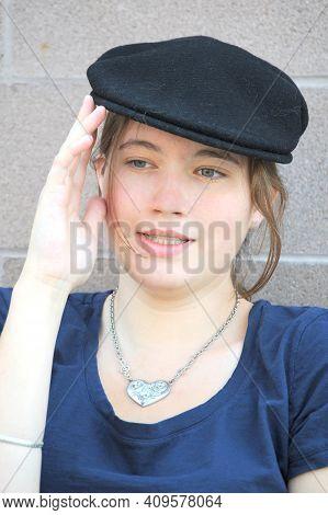 Female Beauty Fashion Model Expressions Alone Outside.