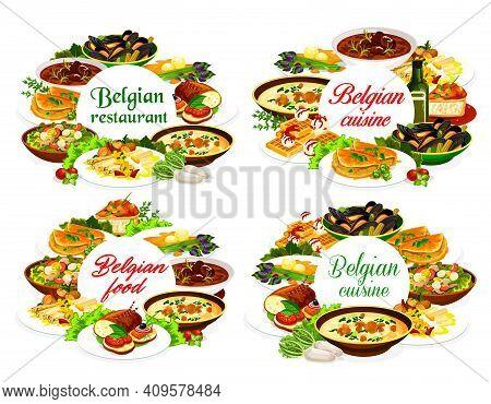 Belgian Cuisine Food Of Vector Restaurant Dishes. Beef Beer Stew Carbonnade, Seafood Potato Salad, W