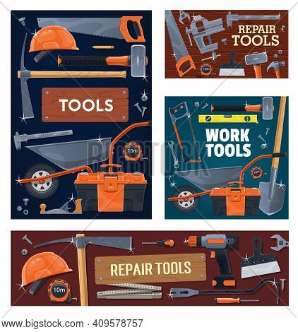 Construction Industry, House Repair Tools And Equipment. Pickaxe And Sledgehammer, Wheelbarrow, Shov