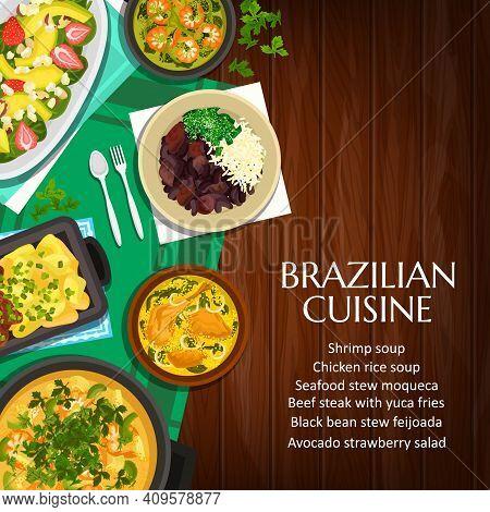 Brazilian Cuisine Vector Black Bean Stew Feijoada, Beef Stew Picadinho De Carne, Shrimp Soup And Sea
