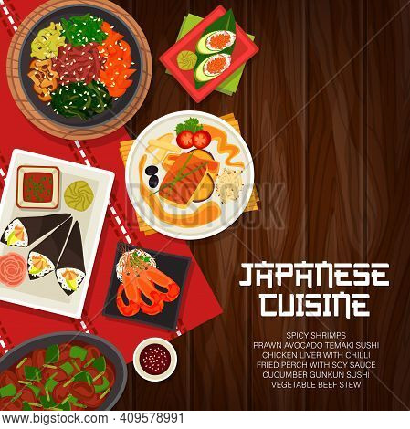 Japanese Cuisine Vector Vegetable Beef Stew, Cucumber Gunkun Sushi, And Fried Perch With Soy Sauce.