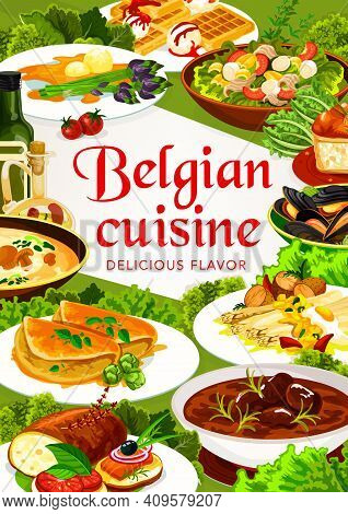 Belgian Cuisine Food With Vector Meat, Seafood And Vegetable Dishes. Beer Beef Stew Carbonnade, Muss