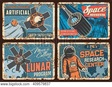 Space Exploration Technologies Rusty Metal Plates. Earth Artificial Satellite, Aerospace Flights And