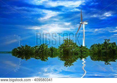 Wind turbine on a green island and cloudy sky